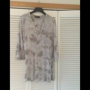INC Beaded Jeweled Tie Dye Tunic Medium